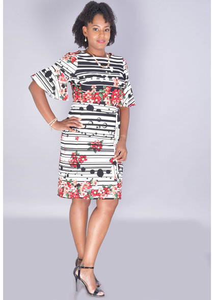 RONJA-Floral Round Neck Bell Sleeve Dress