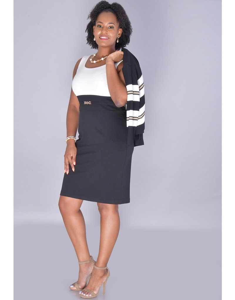Studio 1 Becky- 2 Tone 3/4 Sleeve Jacket Dress with Chain at Waist