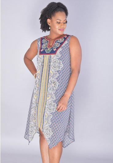 FALUDA-Printed Pointed Armhole Dress