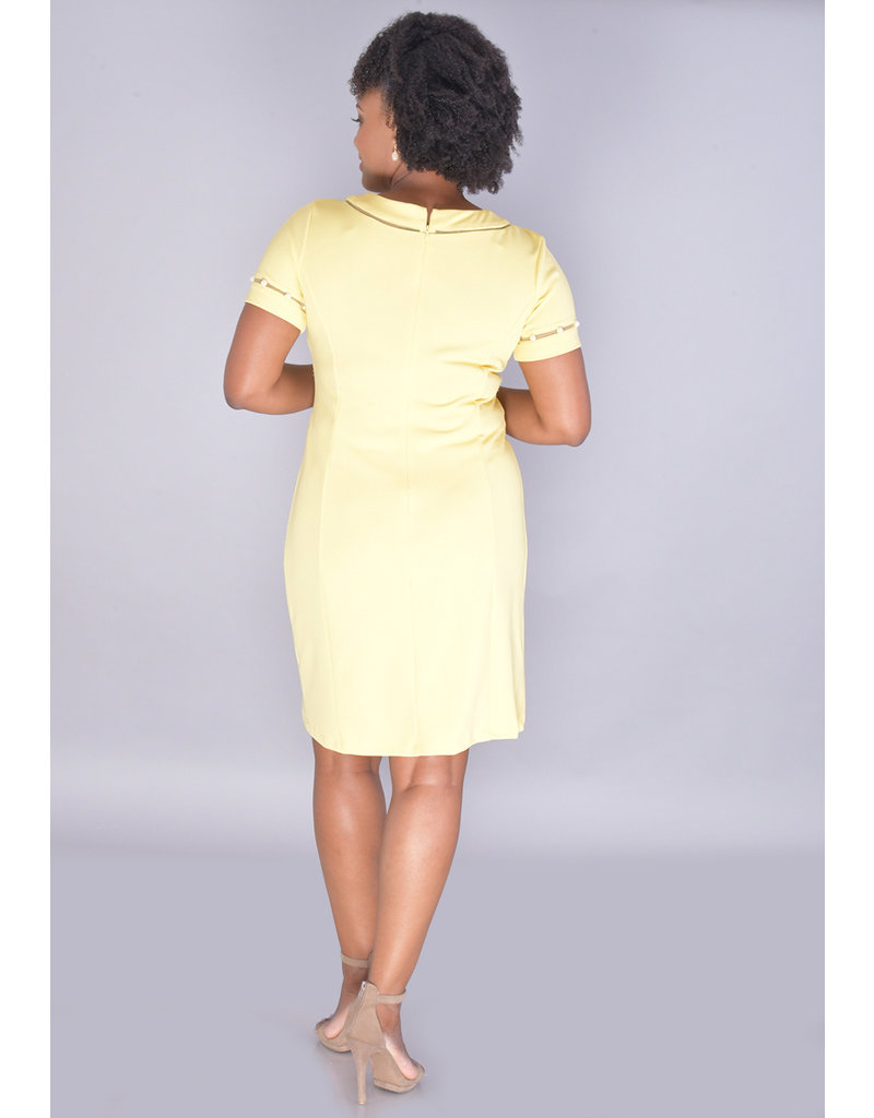 ROCIA-Short Sleeve Dress with Pearl On Mesh