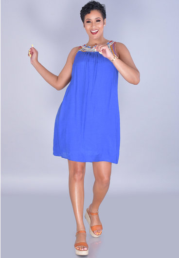 KIMBERLEY- Sleeveless Cotton Dress With Embroidery & Beads at Neckline