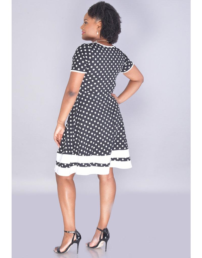Olivia Matthews BEATRICE-Short Sleeve Fit & Flare Polka Dot Dress