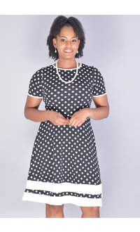 Olivia Matthews BEATRICE-Short Sleeve Fit & Flare Polka Dot Dress
