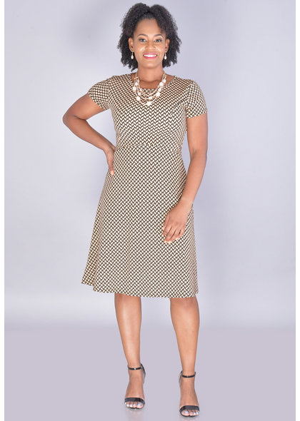 XENOVIA-Patterned Short Sleeve Fit & Flare Dress