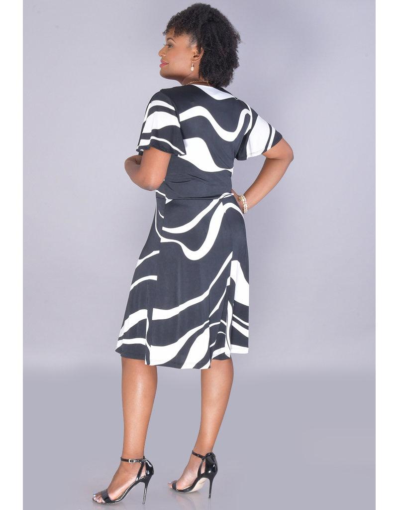 IDONYA-Printed Crossover Short Sleeve Shift Dress