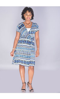 IDONYA-Printed Short Sleeve V-neck Dress