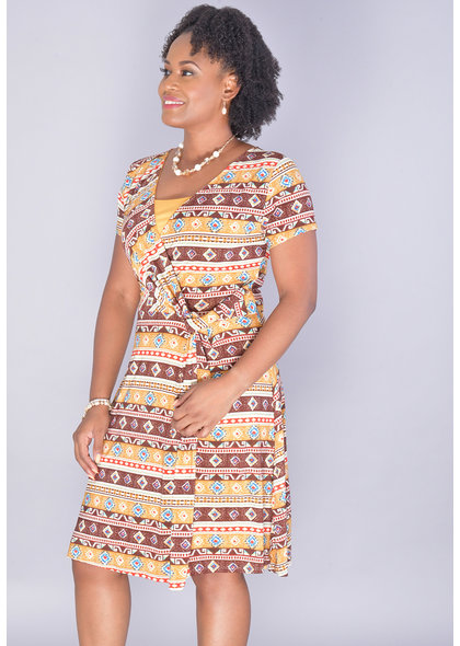 IDISA-Printed Short Sleeve V-neck Dress