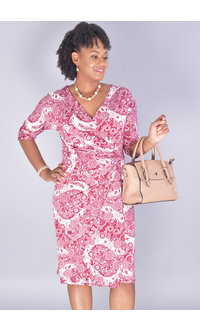 IDESSIE-V-neck Short Sleeve Shift Dress