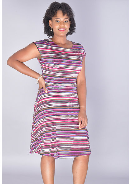 IDONISHA-Patterned Short Sleeve Fit & Flare Dress
