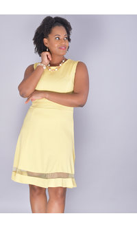 RILLA-Fit & Flare Sleeveless Dress with Mesh Bands