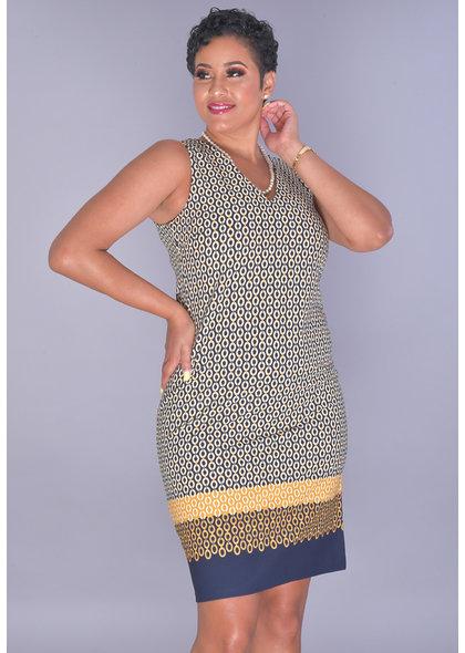 Shelby & Palmer REENU-Chain Print V-Neck Dress