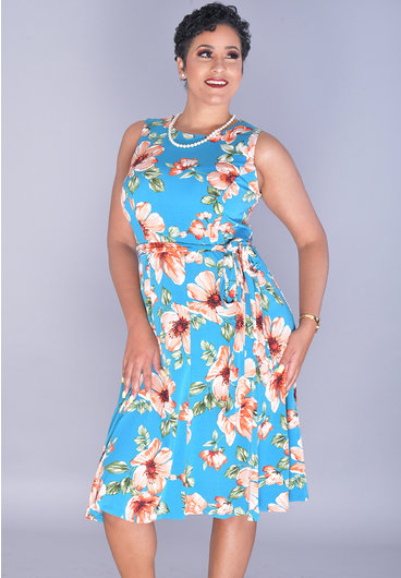 Shelby & Palmer INDU-Floral Puff Print Fit & Flare Dress