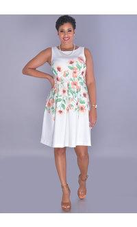 Sandra Darren UDARSI-Round Neck Placement Print Dress