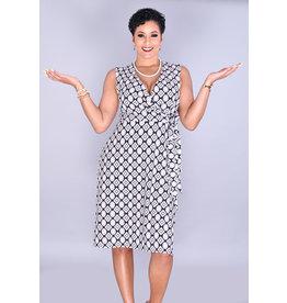 Sandra Darren IDERYN-Puff Print Faux Wrap Dress