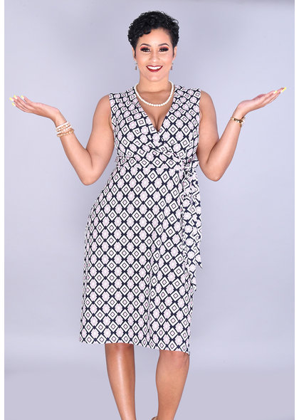 Sandra Darren IDERYN-Puff Print Faux Wrap Dress