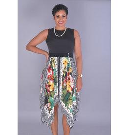 IDIXIE-Solid Top Dress with Handkerchief Bottom