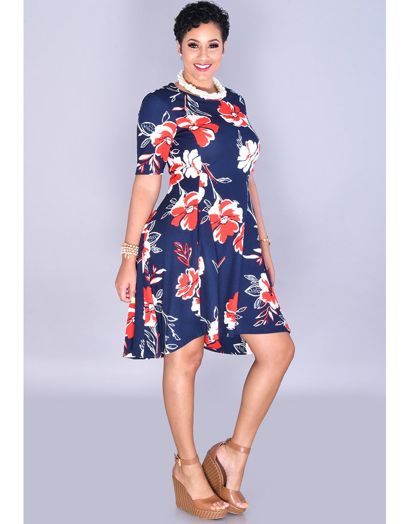 RABUWA-Floral Print HI-LO Dress