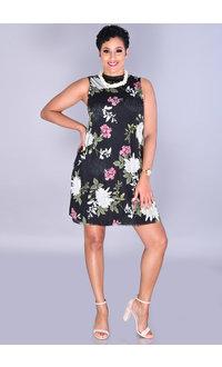 MARTHA-Petite Floral Print Armhole Dress with Raw Edge Hem