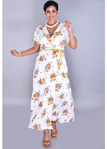 RONICA-Floral Faux Wrap Short Sleeve Dress