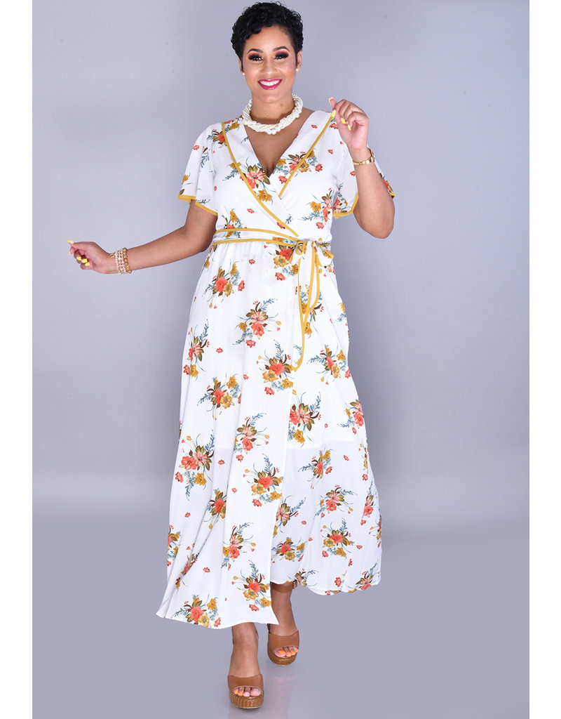 RONICA-Floral Faux Wrap Short Sleeve Dress