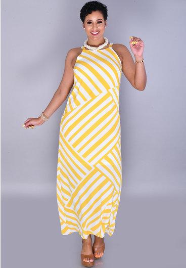 RITULA-Long Stripe Dress with Spaghetti Straps