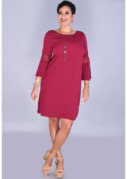 GALENA-Solid Round Neck 3/4 Bell Sleeve Dress