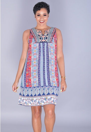 FANITA-Printed V-Neck Embroidered Dress