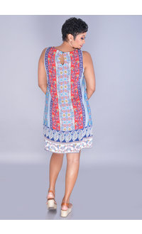 FANITA-Printed V-Neck Embroidered Dress