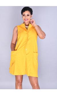 Tash + Sophie NELLA-Sleeveless Shirt Dress with Front Pockets
