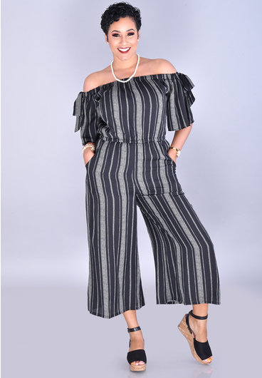 A.U.W. FAIRFAX-Off Shoulder Chiffon Jumpsuit