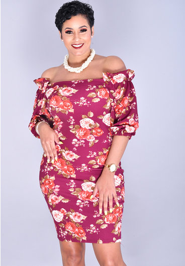 Jayvee RAMANIA-Petite Floral Square Neck Dress with 3/4 Sleeve