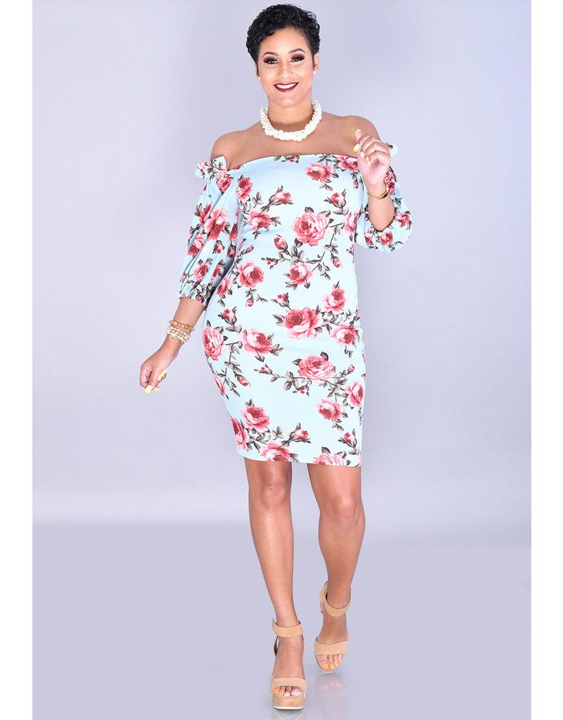 Jayvee RAMANIA-Petite Floral Square Neck Dress with 3/4 Sleeve