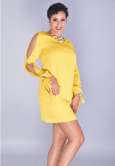 JEMMA FARAI-V-Neck Dress with Split in Sleeve