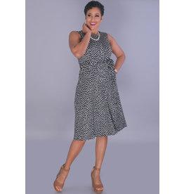 Shelby & Palmer IDELINA-Polka Dot Round Neck Sleeveless Dress
