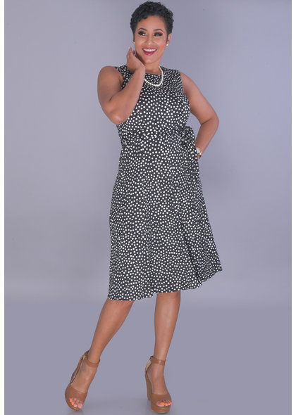 Shelby & Palmer IDELINA-Polka Dot Round Neck Sleeveless Dress
