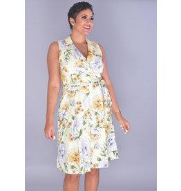 Shelby & Palmer RAIKA-Printed Crossover Lapels Armhole Dress