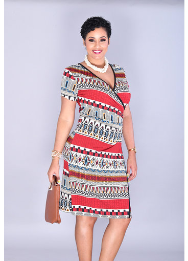 IDELORA-Printed Faux Wrap Short Sleeve Dress