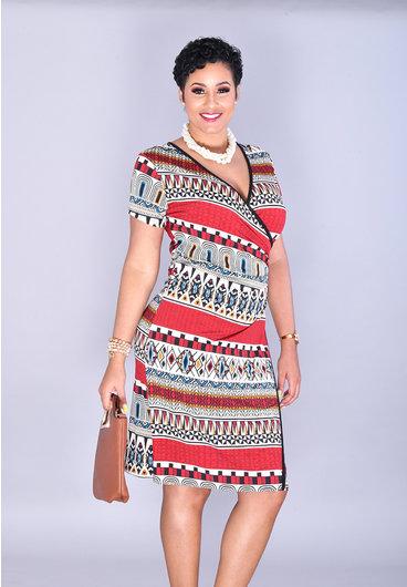 IDELORA-Printed Faux Wrap Short Sleeve Dress