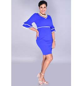 Shelby & Palmer ROMANA-V-Neck Dress With Contrast Trim