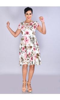 ELLA- Floral Print Fit & Flare Cap Sleeve Dress