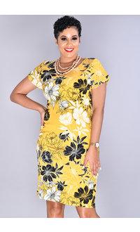 XARIA-Leaf Print Tulip Sleeve Dress