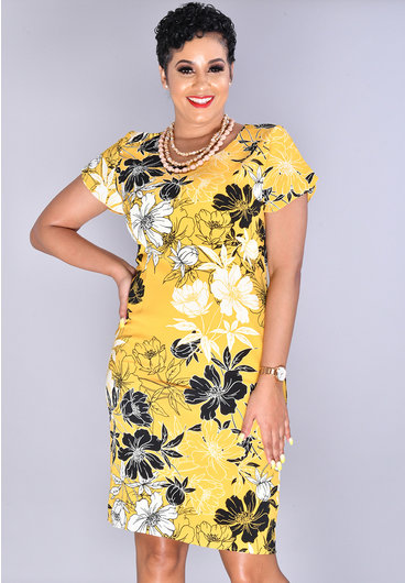 XARIA-Leaf Print Tulip Sleeve Dress