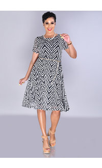MARABEL-Patterned Short Sleeve Shift Dress With Chain Belt