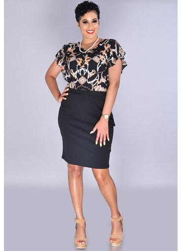 Kara Girl ROSHNI-Printed Pleated Top Dress with Ruffle Sleeve