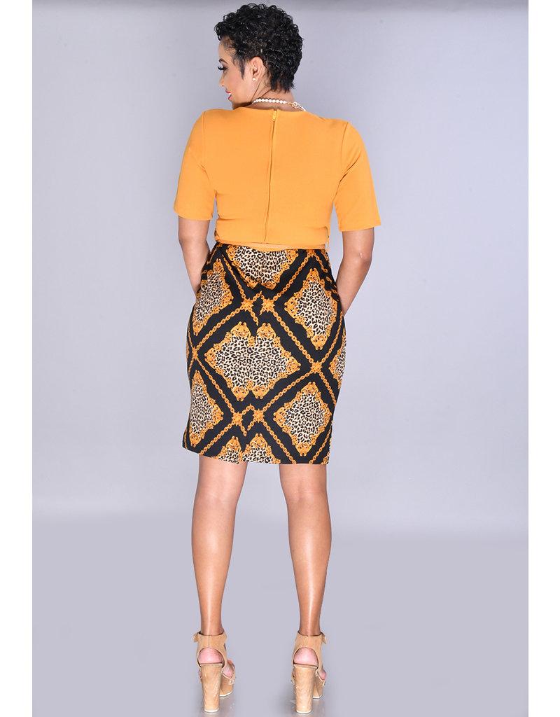 Pyramide ROZA-Petite Animal Print Bottom Dress with Solid Top