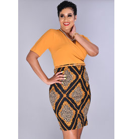 Pyramide ROZA-Petite Animal Print Bottom Dress with Solid Top