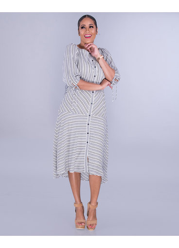 Maison Tara XIOMARA-Stripe Dress with 3/4 Sleeves