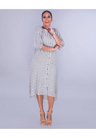 Maison Tara XIOMARA-Stripe Dress with 3/4 Sleeves