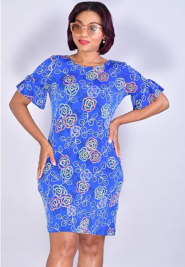 IDAFNE-Floral Puff Print Dress with Ruffle Sleeves