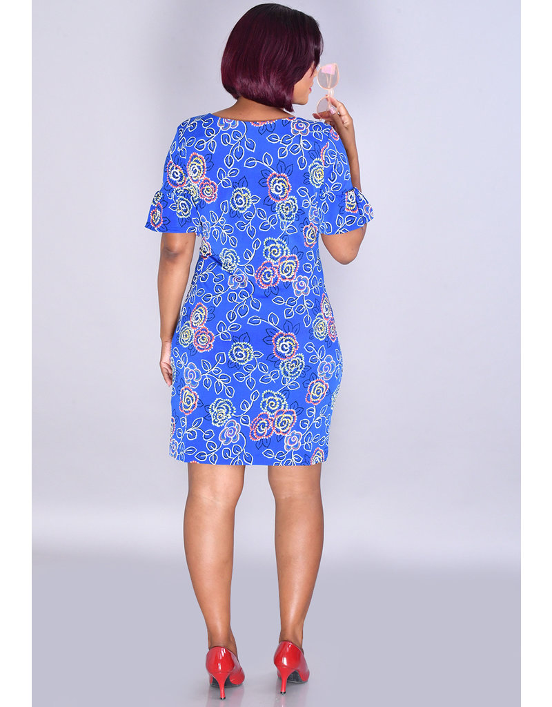 IDAFNE-Floral Puff Print Dress with Ruffle Sleeves